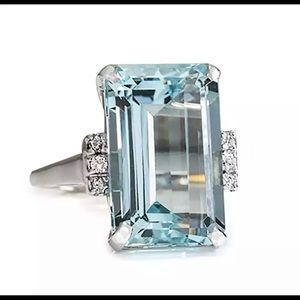 Jewelry - Silver and Light Blue Crystal Ring - Size 6